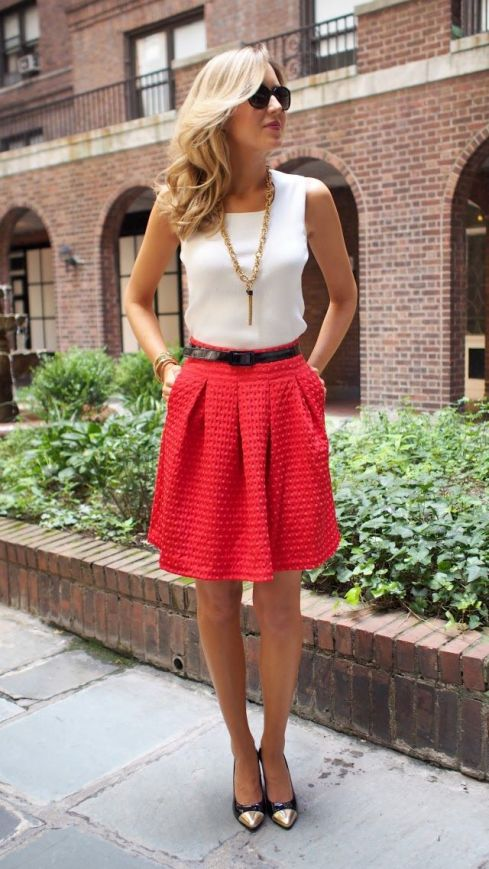 Basic White Top with A-Line Red Skirt
