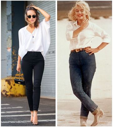 Denim jeans with classic white shirt. The 'Now' trend is donned by a model and the 'Then' trend was carried gracefully by Marilyn Monroe in the movie - The Misfits